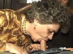 Granny sucks fresh cock and licked