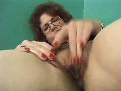 Mom in stockings gets orgasm solo