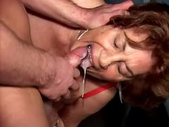 Granny fucks and gets cum in mouth