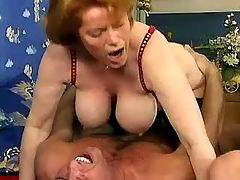 Guys invite two busty mature whores