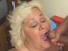 Mature fatty gets cumload in mouth