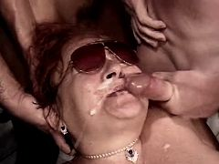 Chubby mature gets facials in orgy