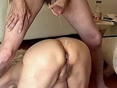 Lewd granny gets cum on her old ass