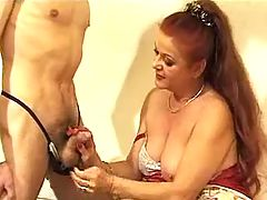 Granny sucks two young men in hotel