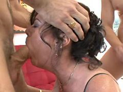 Guys fucks lustful granny by turns