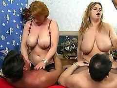Two grannies with huge tits in orgy