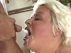 Fat granny gets hot cum in mouth