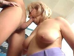 Mature sucking cock and rides him