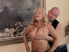 Blond chubby mom has oral and fucks