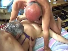 Old men share sexy depraved grandma