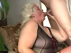 Fat mature greedily suck hard cock